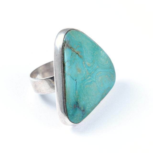 Inel argint și turcoaz, triunghi asimetric, India