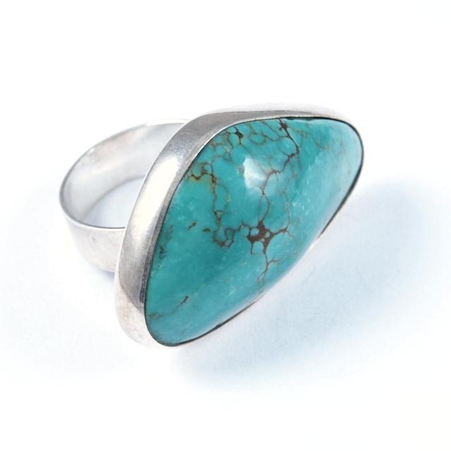 Inel argint și turcoaz asimetric, India