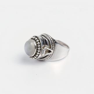 Inel cutiuță Nizamabad, argint și piatra lunii, India