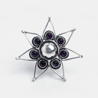 Inel floare Indira, argint și ametist, India