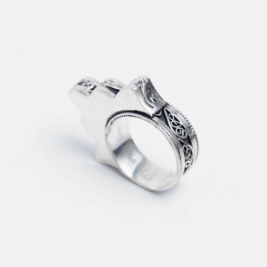 Inel hamsa Casablanca, argint și filigran, Maroc