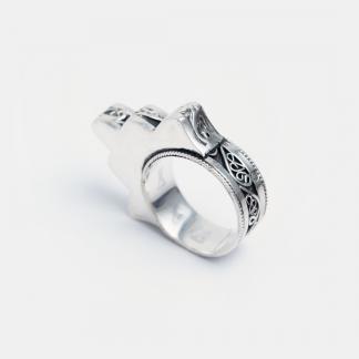 Inel amuletă hamsa Casablanca, argint și filigran, Maroc