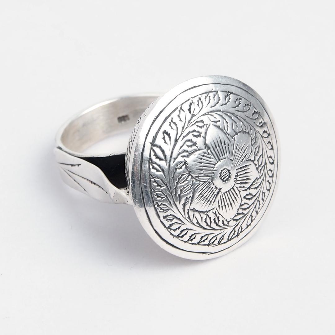 Inel înalt floare gravată, argint, India
