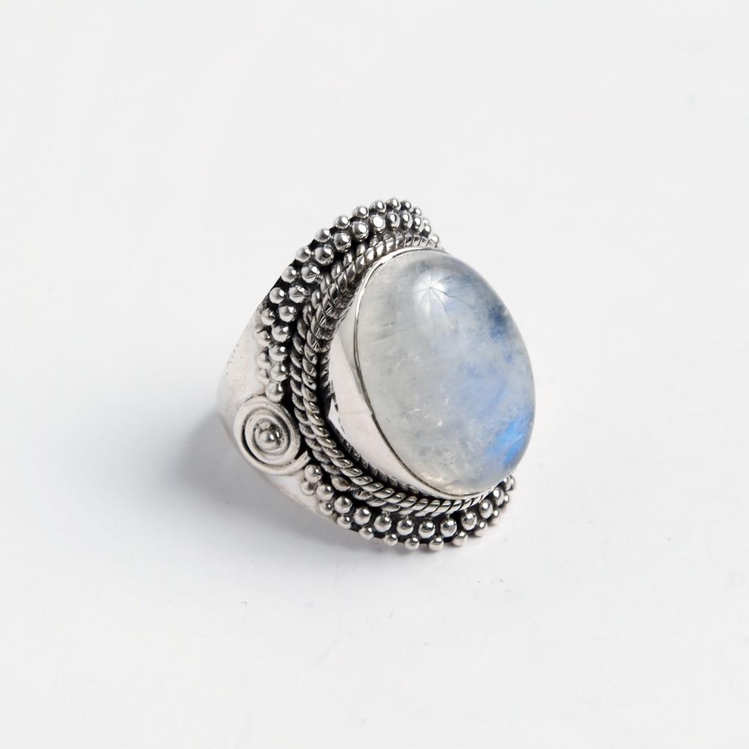 Inel Kikar, argint și piatra lunii, India