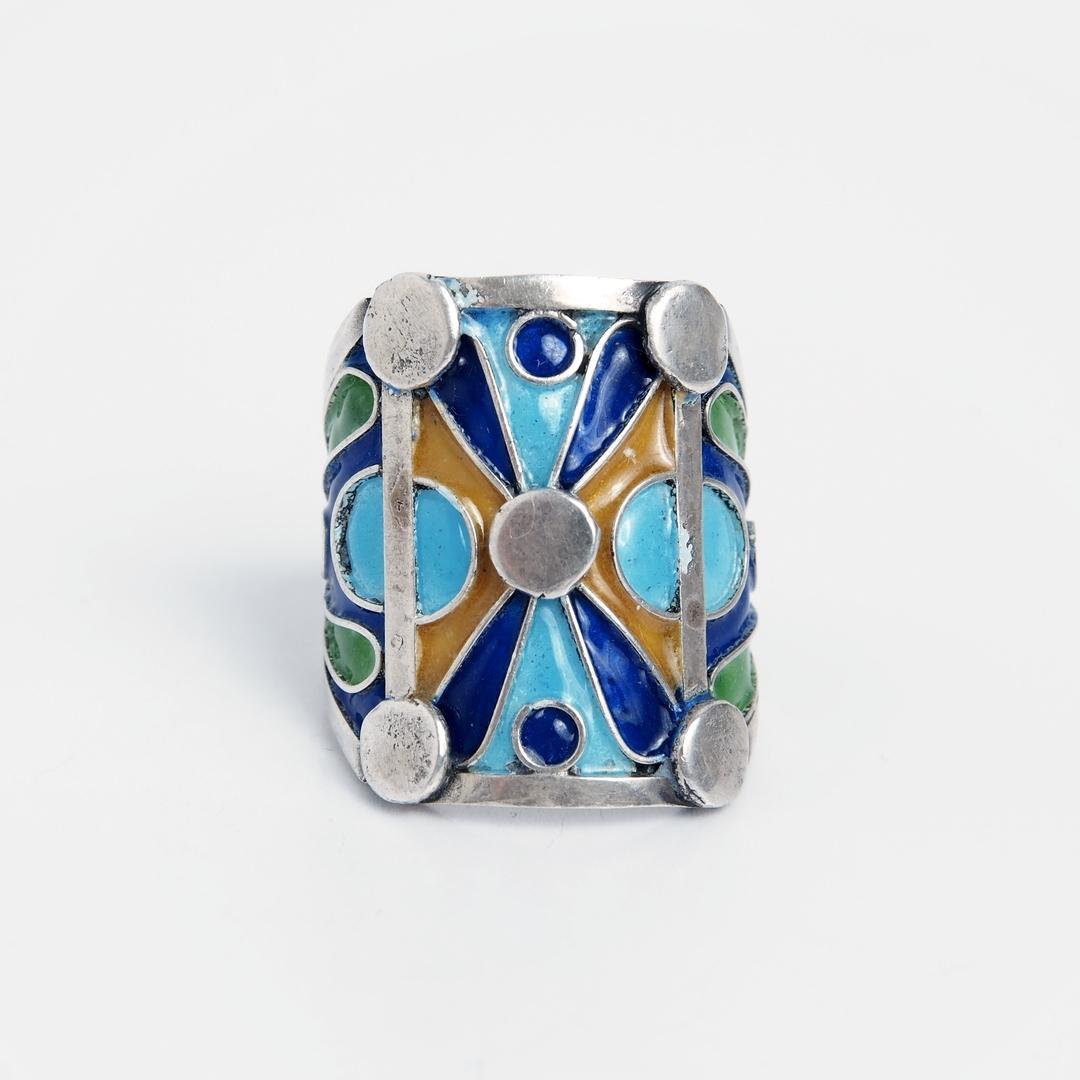 Inel lat Taroudant, argint și email, Maroc
