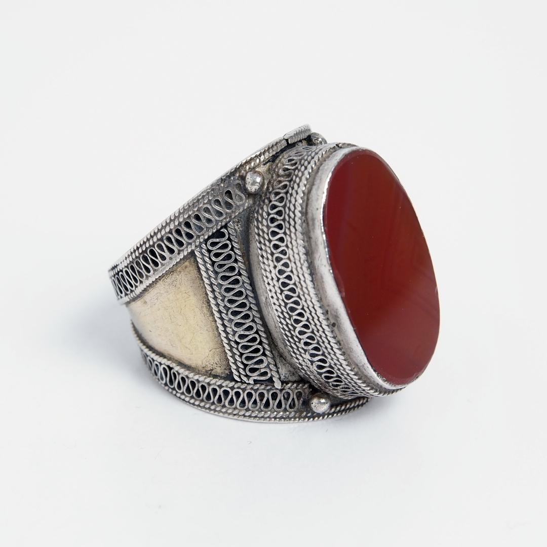 Inel lat Teke, argint, carneol, bronz, Afganistan
