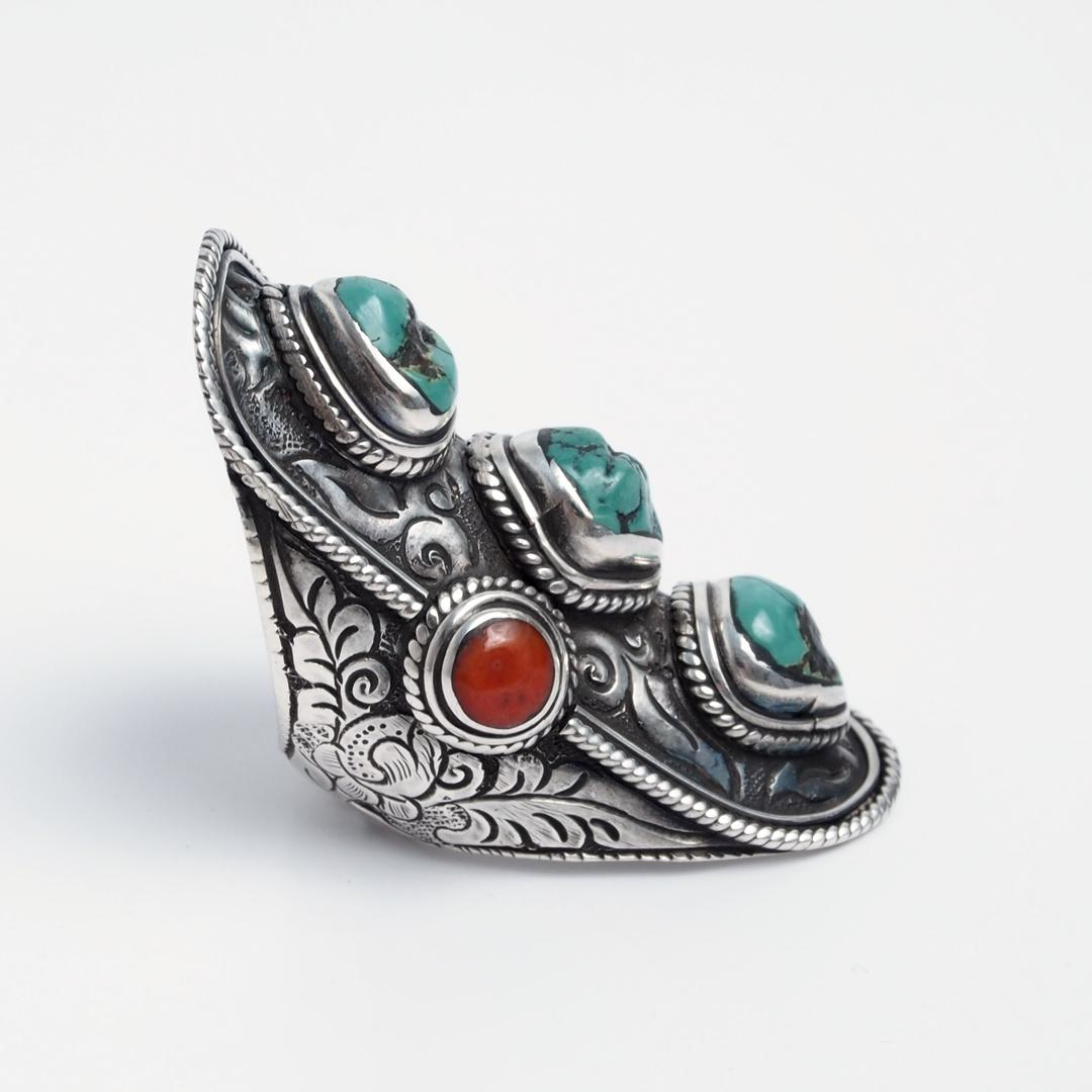 Inel lung Durbar, argint, turcoaz tibetan și coral, Nepal