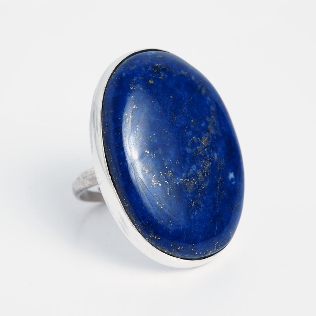 Inel mare oval Kandahar, argint și lapis lazuli, India