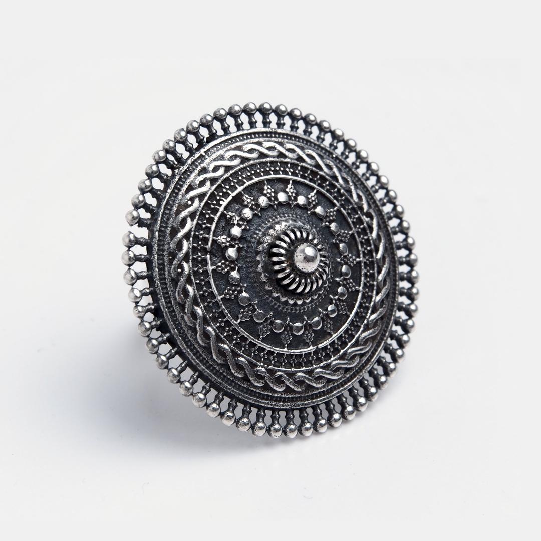 Inel mare rotund Bengal, argint, India