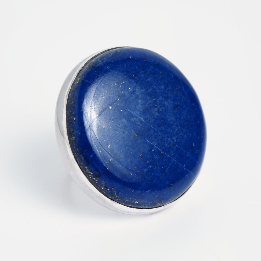 Inel mare rotund Bleu, argint și lapis lazuli, India