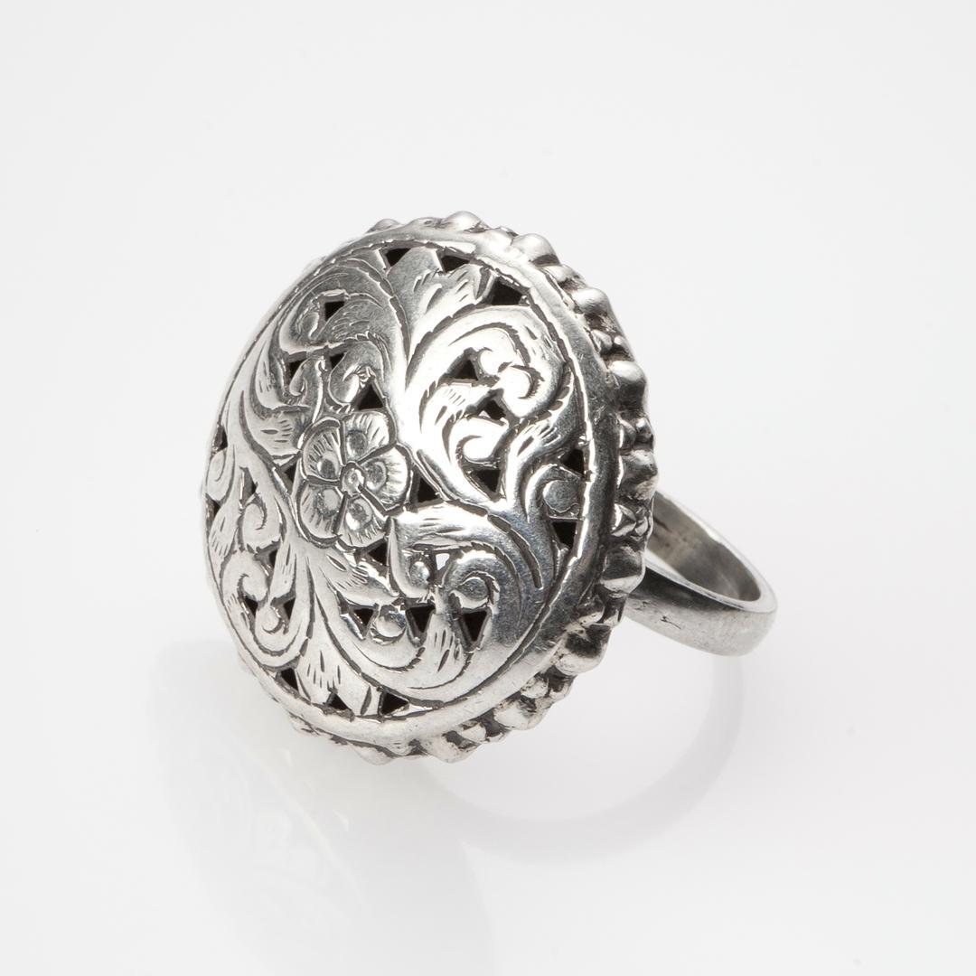 Inel motive florale, ajurat, argint, India