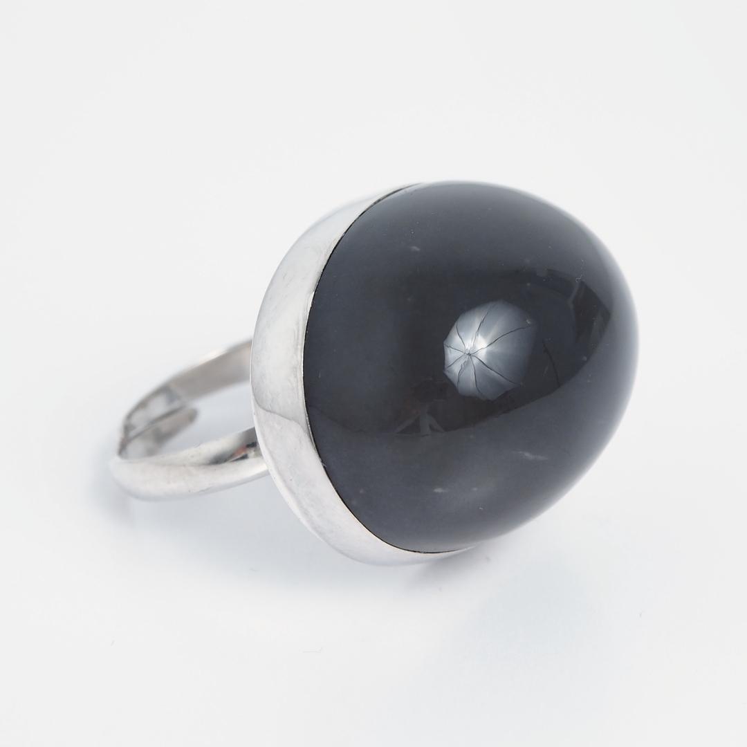 Inel oval bombat, piatra lunii fumurie, argint, India