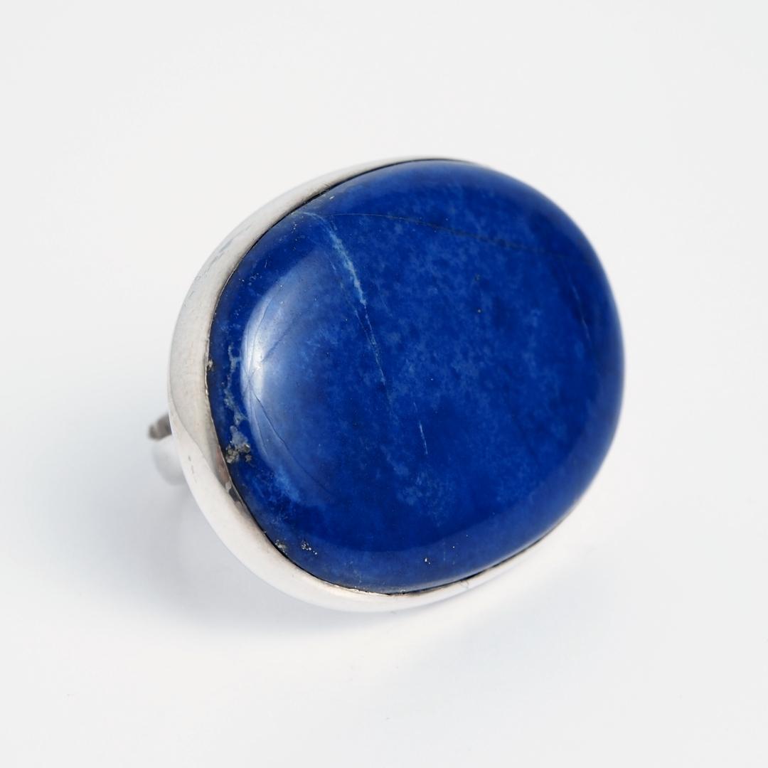 Inel oval Jalalabad, argint și lapis lazuli, India