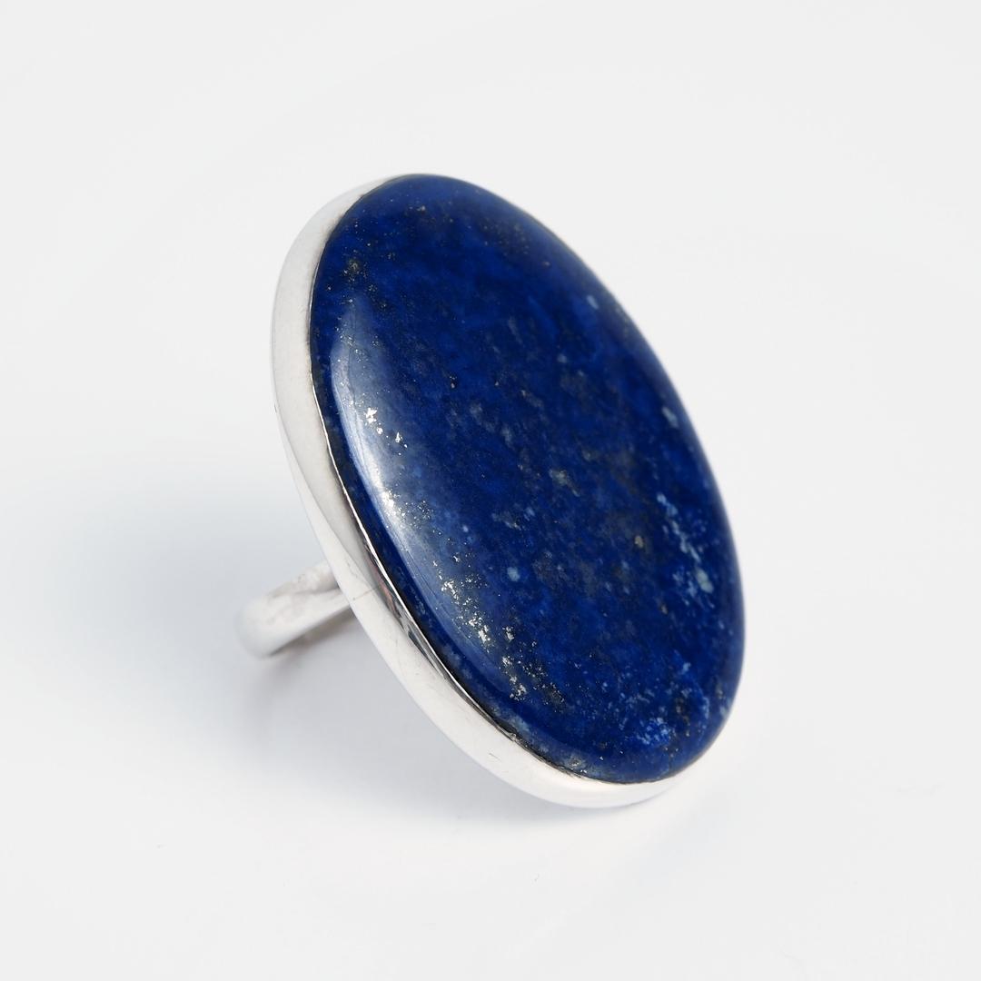 Inel oval Kush, argint și lapis lazuli, India