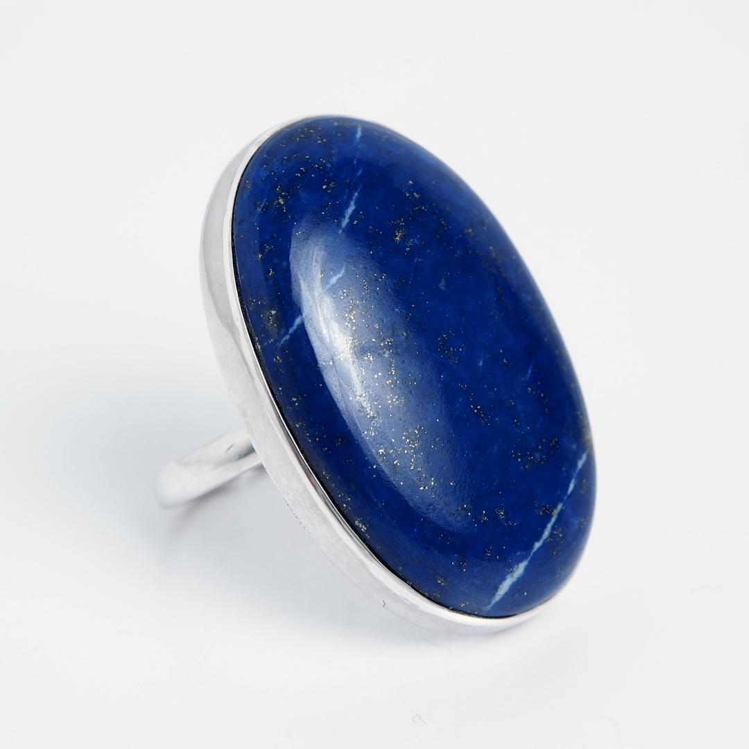 Inel oval Lashkar, argint și lapis lazuli, India