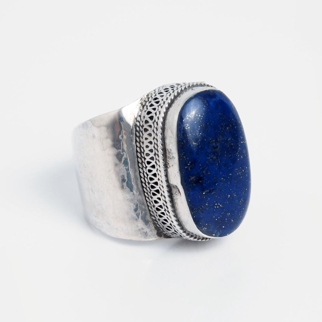 Inel oval Tashkent, argint și lapis lazuli, Afganistan