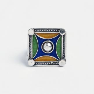 Inel pătrat Ait Attab, argint și email, Maroc