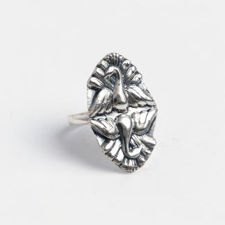 Inel păuni Mayura, argint, India