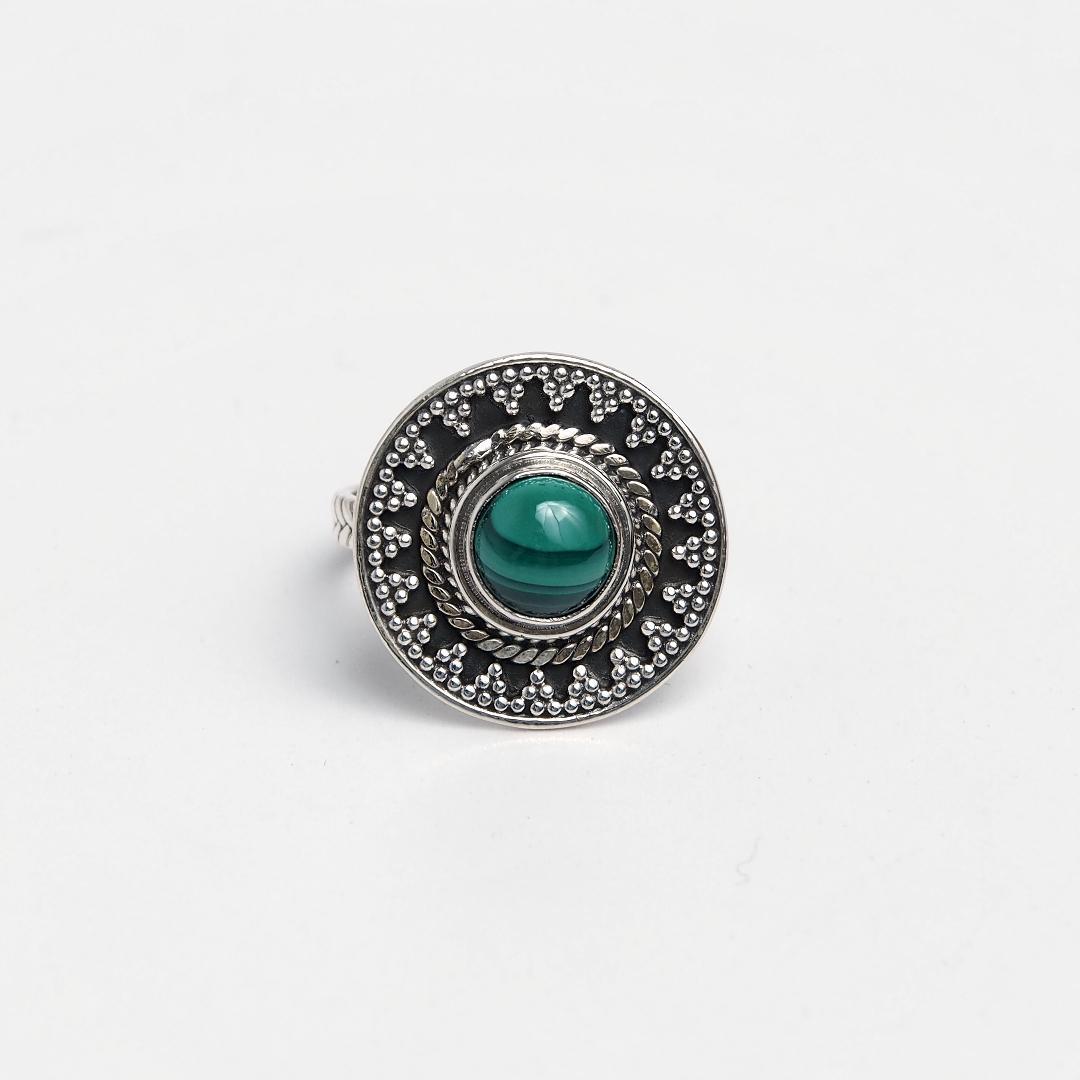 Inel rotund Amit, argint și malachit, India