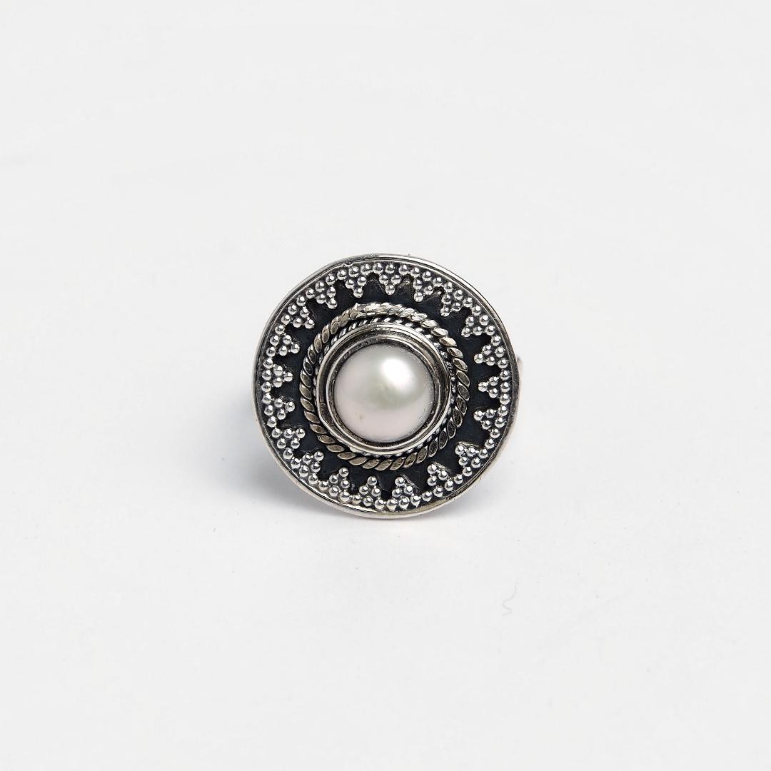 Inel rotund Amit, argint și perlă de cultură, India