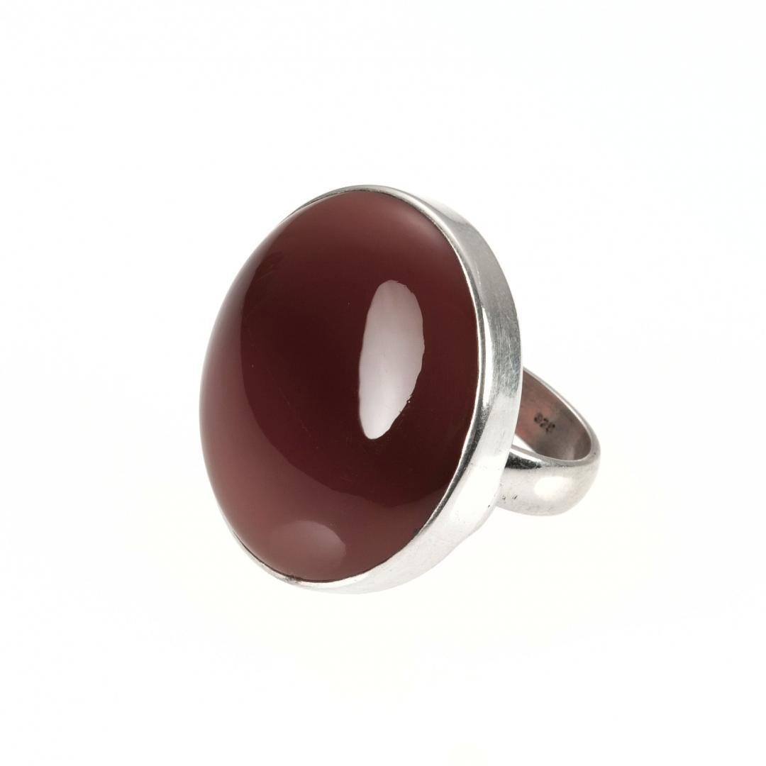 Inel rotund, argint și onix roșu, India