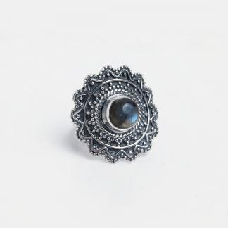 Inel rotund floare Hyderabad, argint și labradorit, India