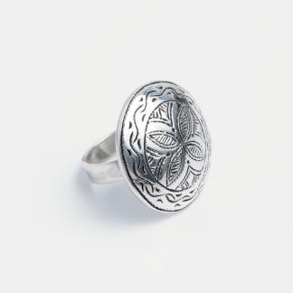 Inel rotund Gadda, argint gravat, Niger