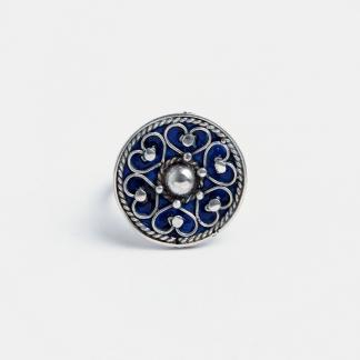 Inel rotund Shams, argint și email albastru, Maroc