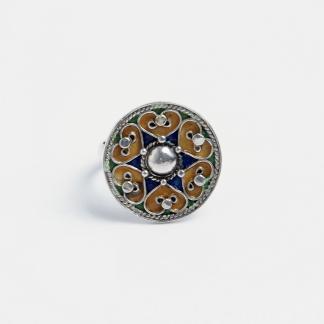 Inel rotund Shams, argint și email, Maroc