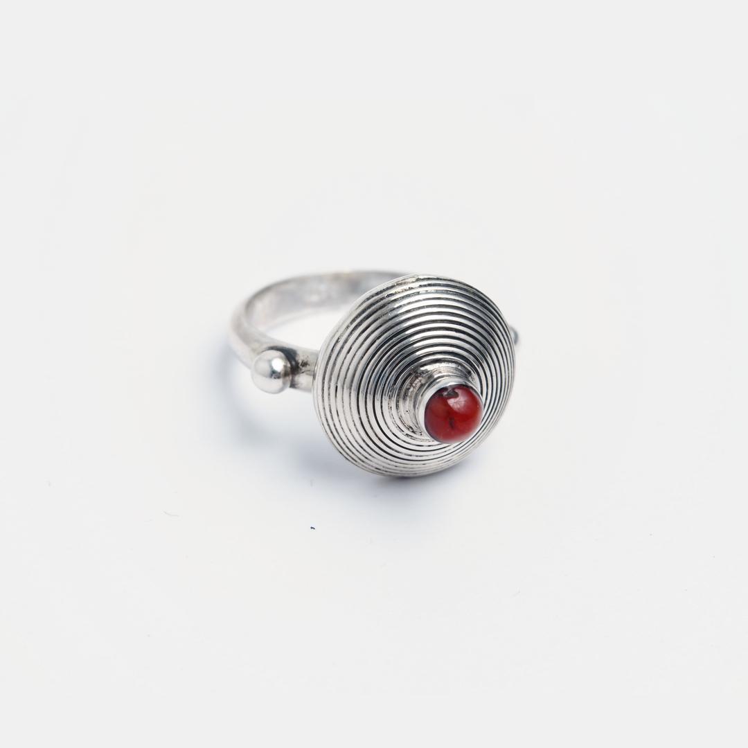 Inel spirală Nador, argint și coral veritabil, Maroc