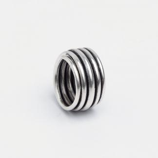 Inel spirală Neem, argint patinat, Thailanda