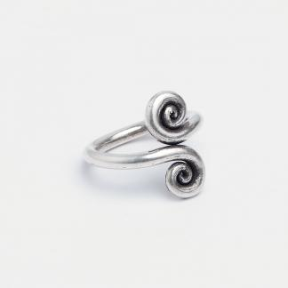 Inel spirale Theep, argint patinat, Thailanda