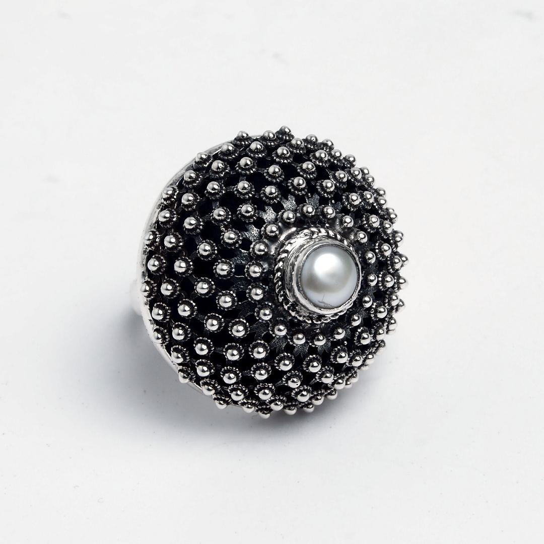 Inel statement argint și perlă Arcin, India