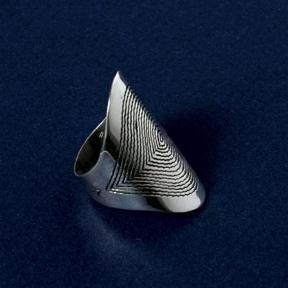 Inel argint spirală gravată
