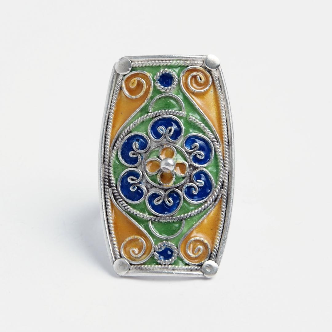 Inel unicat Aissa, argint și email, Maroc