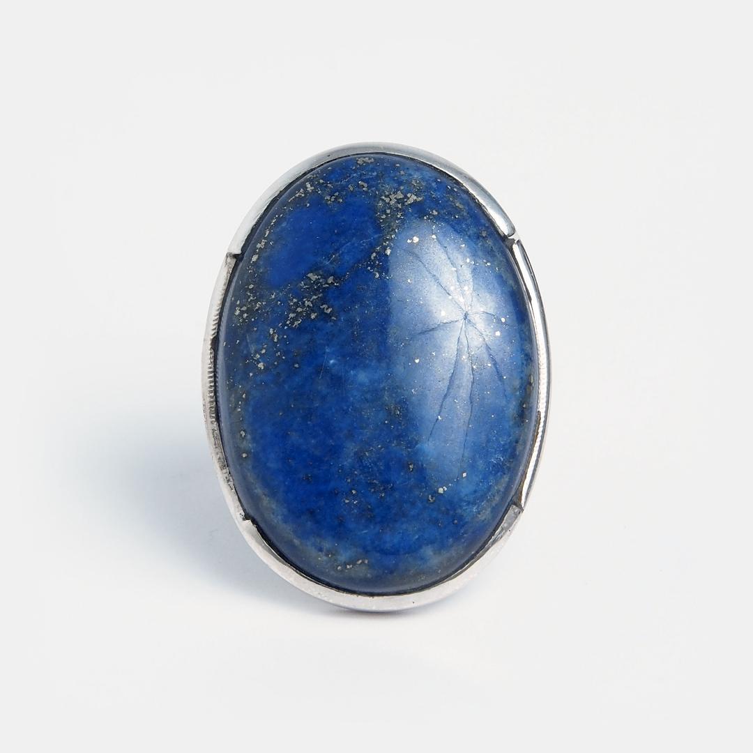 Inel unicat din argint și lapis lazuli oval, India