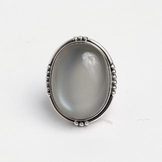 Inel unicat argint și piatra lunii Chandra, India