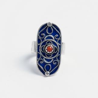 Inel unicat Assoul, argint, email albastru și coral, Maroc