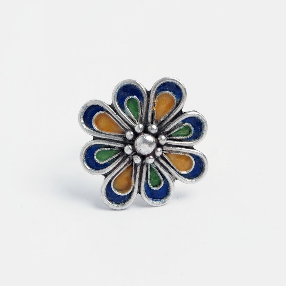 Inel unicat floare Azilal, argint și email, Maroc