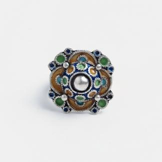 Inel unicat floare Zawyn, argint și email, Maroc