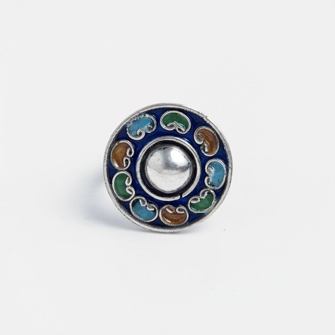 Inel unicat rotund Baladi, argint și email, Maroc