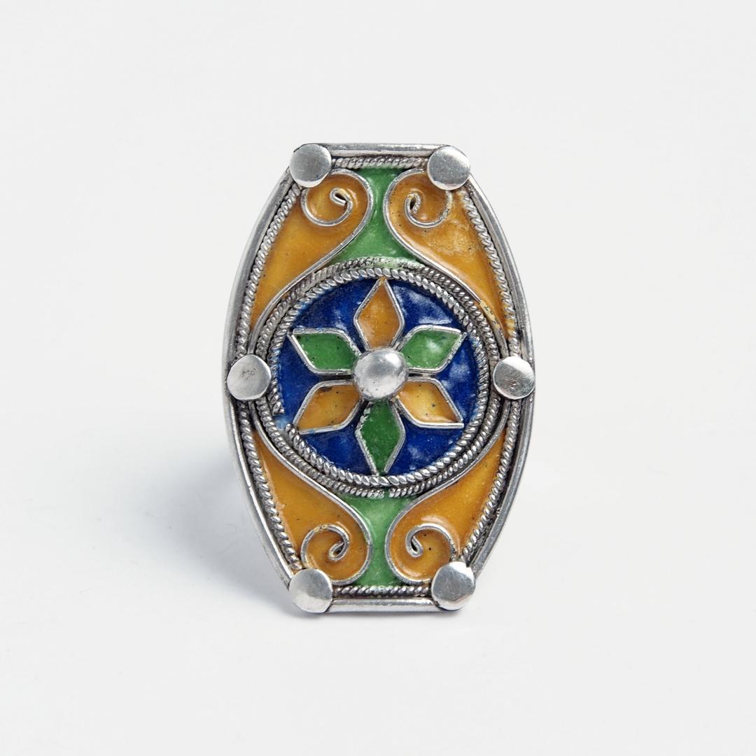 Inel unicat Zaakna, argint și email, Maroc
