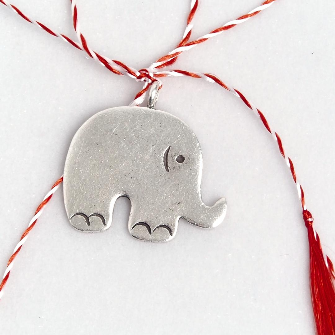 Mărțișor elefant simplu din argint