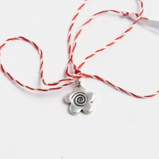 Mărțișor floricică cu spirală din argint