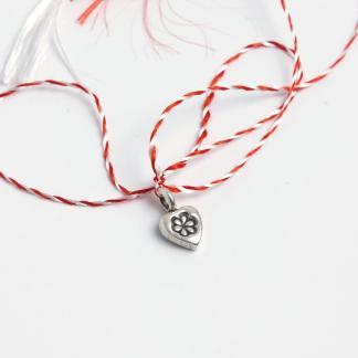 Mărțișor inimioară cu floricică din argint
