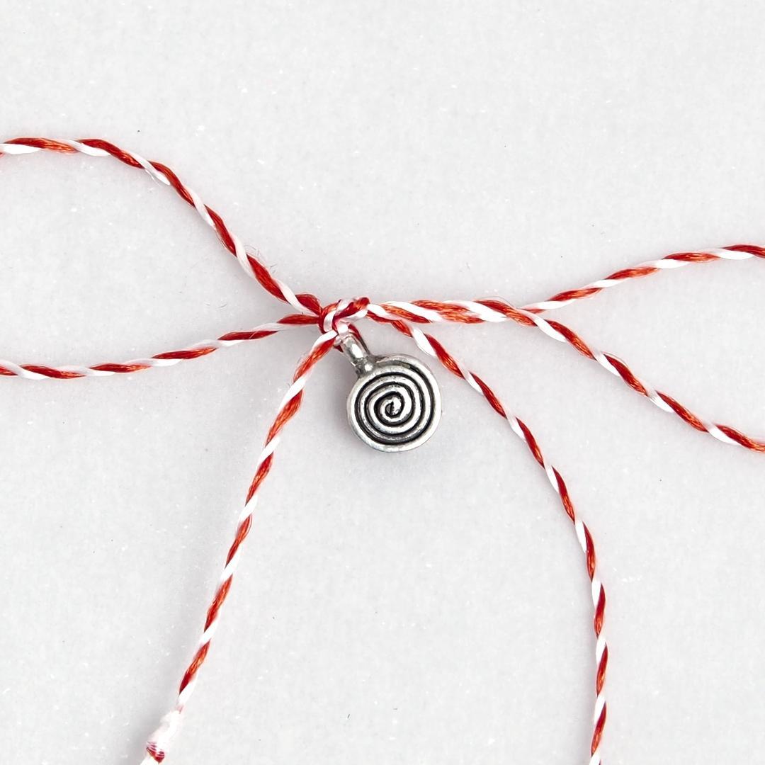 Mărțișor spirală plată argint