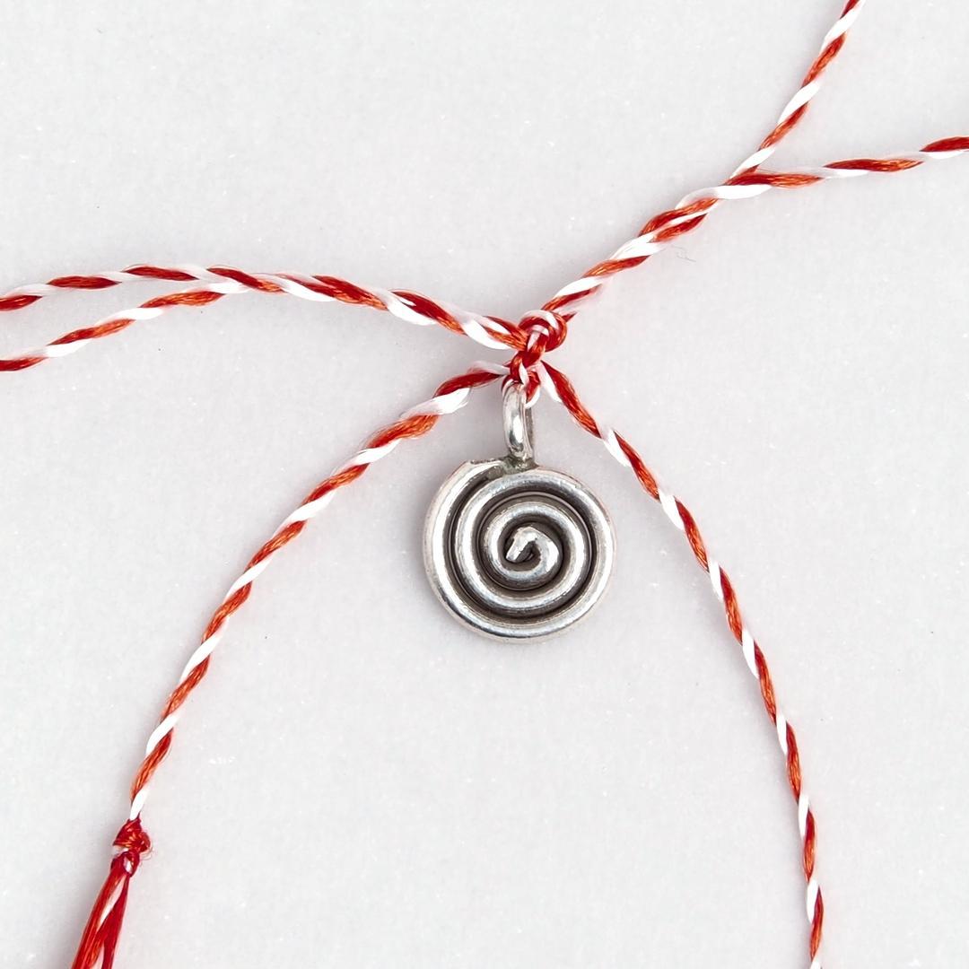 Mărțișor spirală rotunjită argint