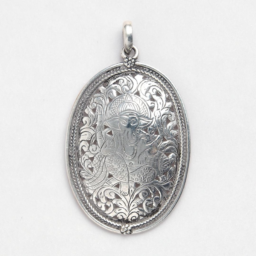 Medalion oval Ganesha, argint, India
