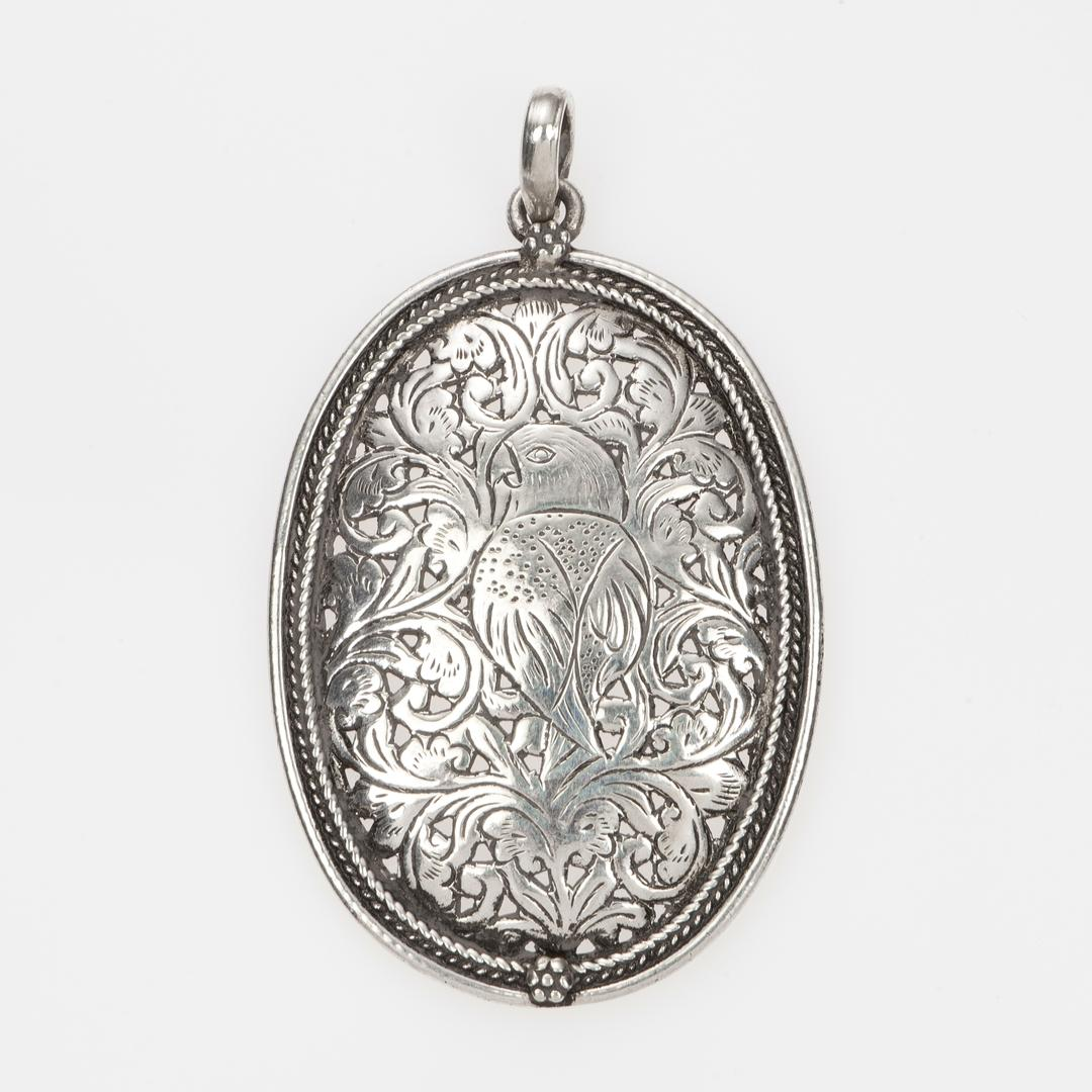 Medalion pasăre, ajurat, argint, India