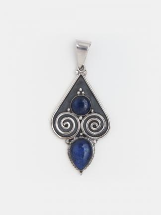 Pandantiv statement argint și lapis lazuli Tillya, Afganistan
